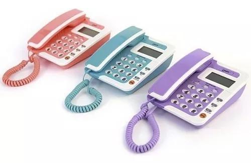Telefone colorido fixo c/ fio,bina,identificador de chama