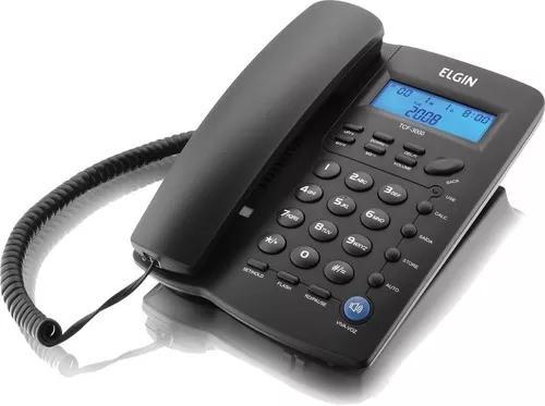 Telefone com fio elgin tcf 3000 c/ identificador chamadas
