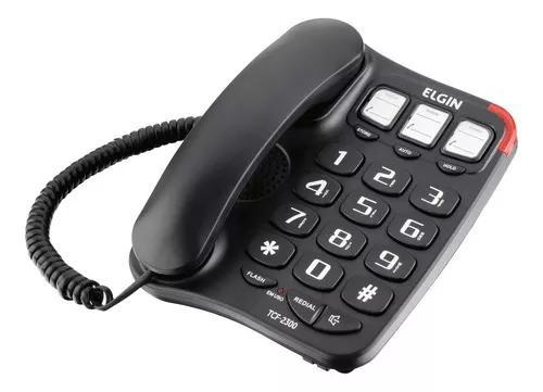 Telefone com fio preto tcf-2300 elgin