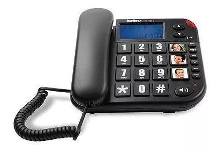 Telefone com fio tok fácil id teclas grandes preto