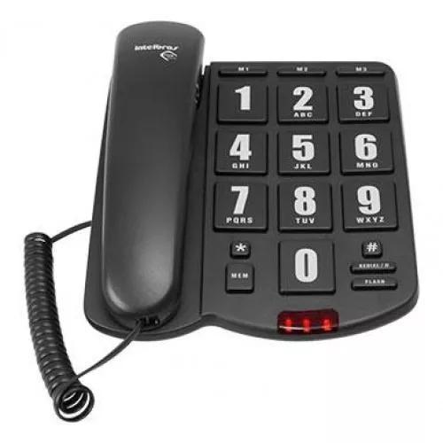 Telefone com fio tok fácil intelbras preto teclas grande