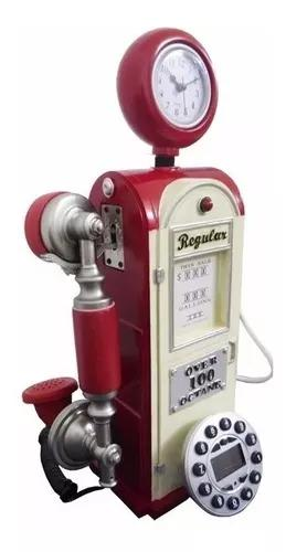 Telefone com fio vintage retrô estilo bomba de gasolina