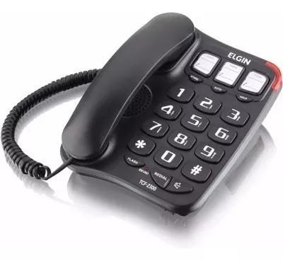 Telefone de mesa com fio + viva voz - tcf 2300 elgin - preto