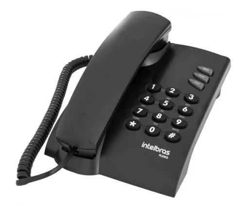 Telefone intelbras com fio pleno preto com chave residencial