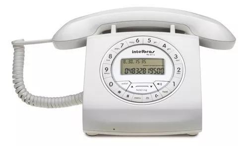 Telefone retro intelbras com fio branco tc8312 viva voz bina