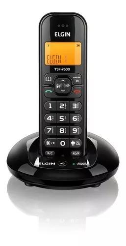 Telefone s/fio com viva-voz identificador de chamadas preto