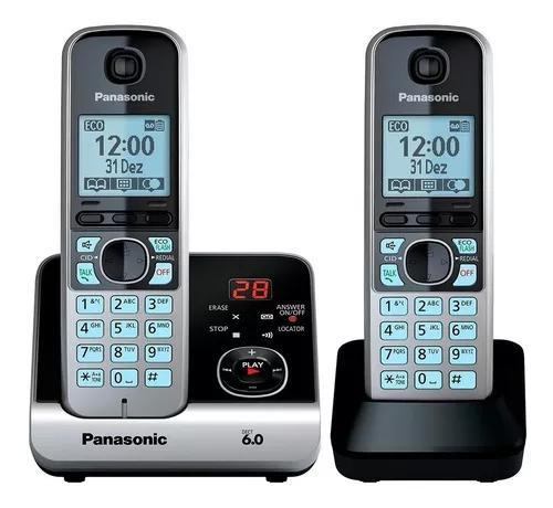 Telefone s/fio dect6.0 c/id sec. ramal kx-tg6722lb panasonic