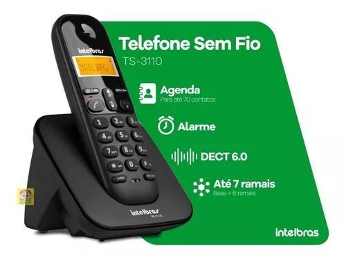 Telefone s/fio intelbras ts3110 identificador de chamadas