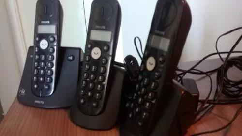 Telefone s/fio philips base + 02 ramais - com defeito