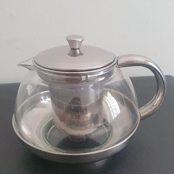 Bule com infusor para chá em alumínio e vidro usado