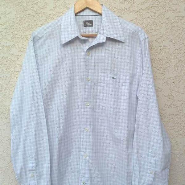 Camisa branca quadriculada lacoste masculina