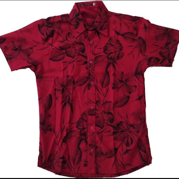 Camisa floral manga curta social masculina