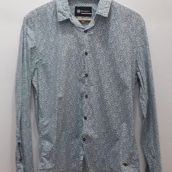Camisa manga longa mandi tecido 100% algodão estampa mini