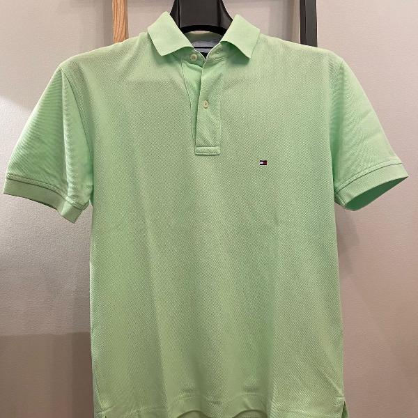 Camisa polo verde limão tommy hilfiger