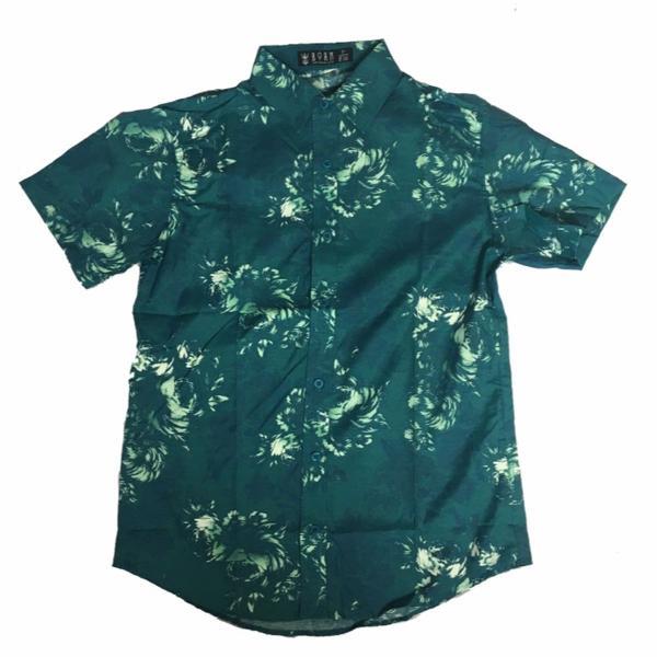 Camisa social floral estampada manga curta florido