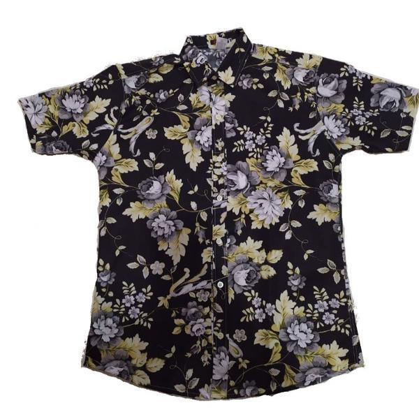 Camisa social floral manga curta estampada