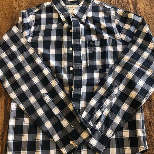 Camisa xadrez azul abercrombie