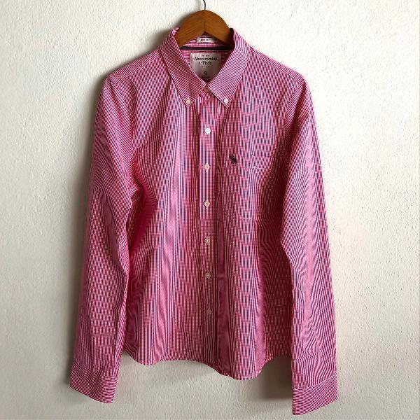 Camisa xadrez vermelho abercrombie & fitch