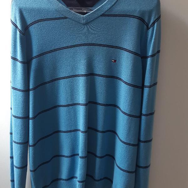 Cardigan de lã azul
