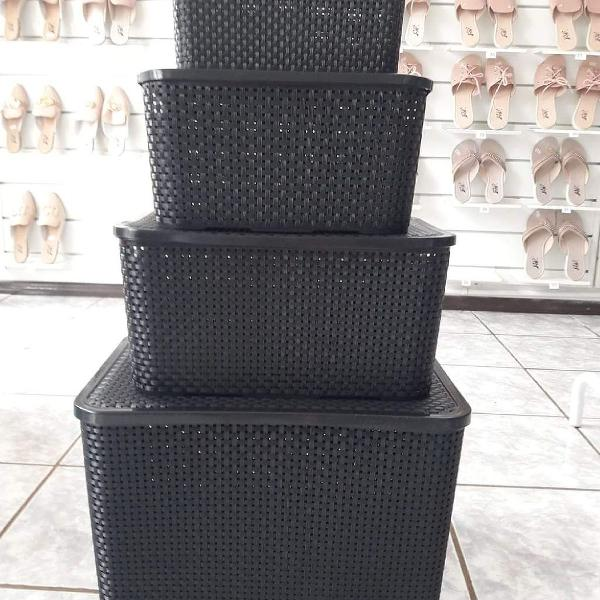 Kit caixas rattan 4 unidades preta 7, 15, 20 e 40 litros