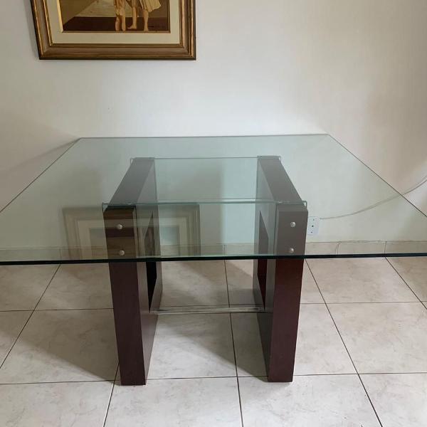 Mesa de jantar vidro e madeira perfeito estado