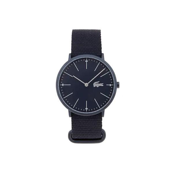 Relógio masculino ultra fino com pulseira preta em tecido