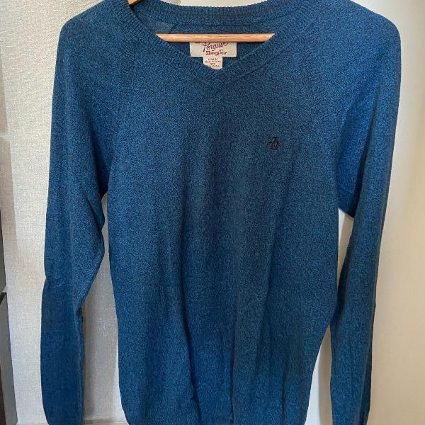 Sweater penguin azul gola v