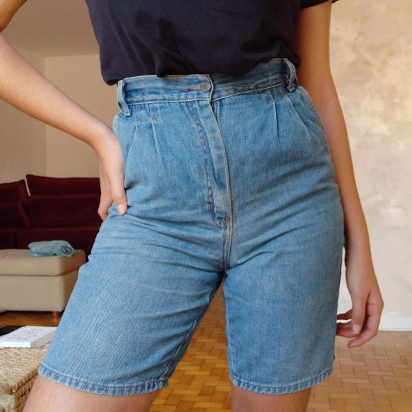 Bermuda jeans cintura alta vintage 100% algodão