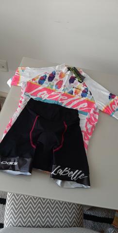 Conjunto ciclismo feminino oggi bike - branco rosa