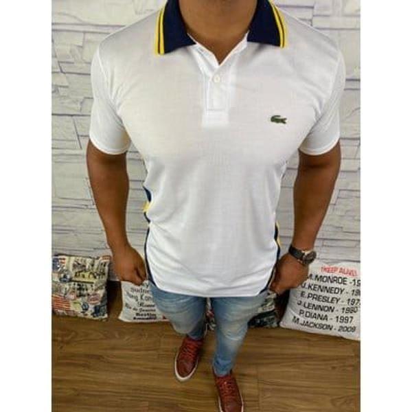 Camisa polo masculina branca diferenciada lacoste
