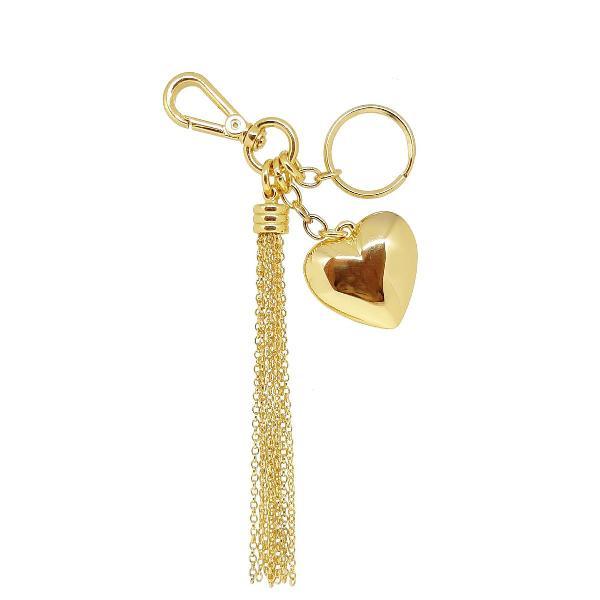 Chaveiro de coração com franja tassel de metal dourado