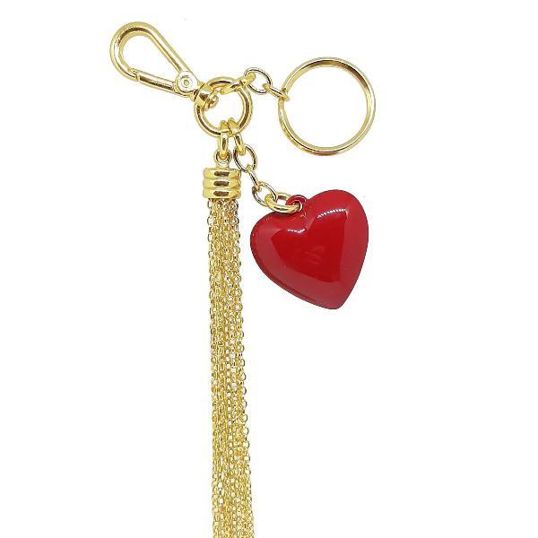 Chaveiro de coração vermelho com franja tassel de metal