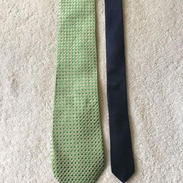 Gravata tommy hilfiger originalseda verde e azul usada