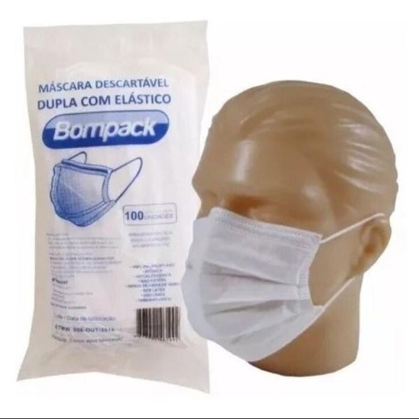 Máscara descartável c/100 unidades bompack. proteção