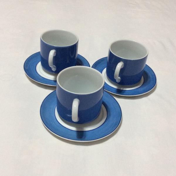 3 xícaras e purês de chá em porcelana schmidt peças