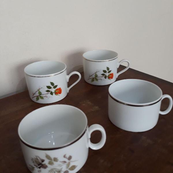 4 xícaras de chá porcelana renner e real sao paulo