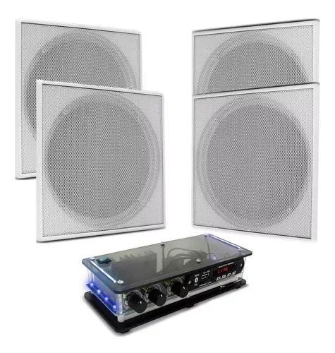 Amplificador rc bt +4 caixa de som arandela teto quadrada br