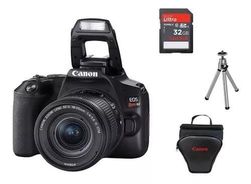 Canon eos rebel sl3 dslr+lente 18-55stm+32gb+bolsa+tripé