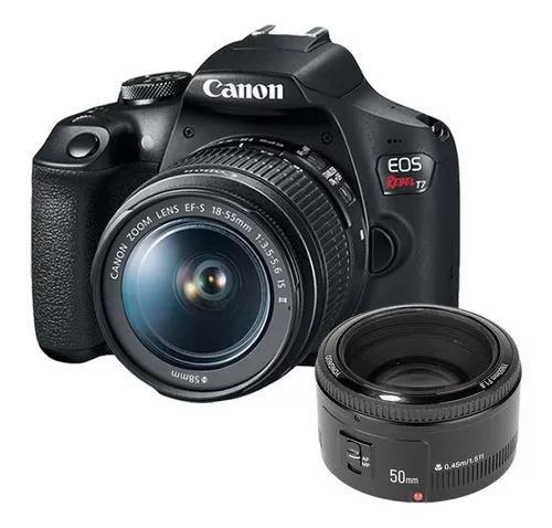 Câmera canon dslr t7 lente 18-55mm + lente 50mm 1.8 yongnuo