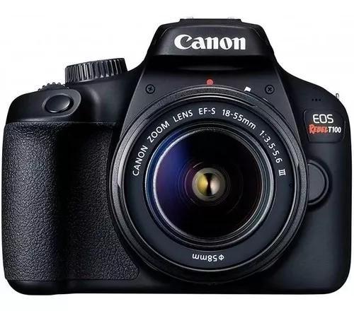 Câmera canon eos rebel t100 lente ef-s 18-55mm f/3.5-5.6