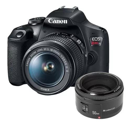 Câmera canon rebel t7 lente 18-55mm + lente 50mm 1.8