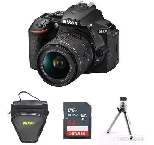 Câmera nikon d5600 com lente 18-55mm + 64gb + bolsa +