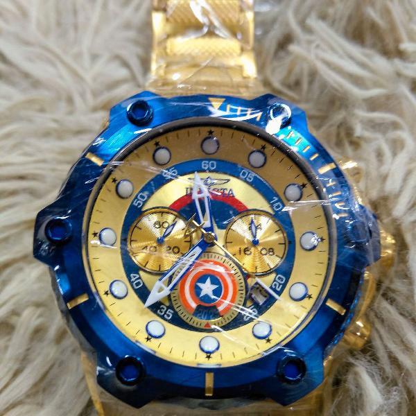 Relógio invicta bolt capitão america dourado 100%