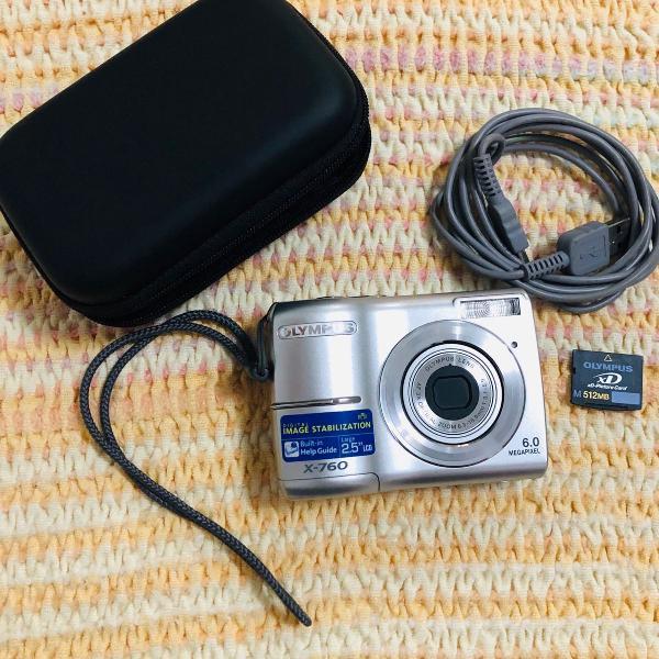 Câmera digital olympus x-760 + cartão 512mb+estojo