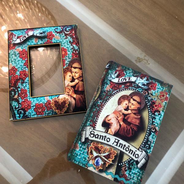 Porta retrato e caixa livro santo antônio