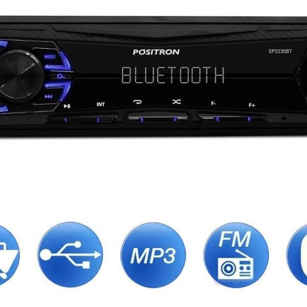 Rádio mp3 player automotivo pósitron com bluetooth sp