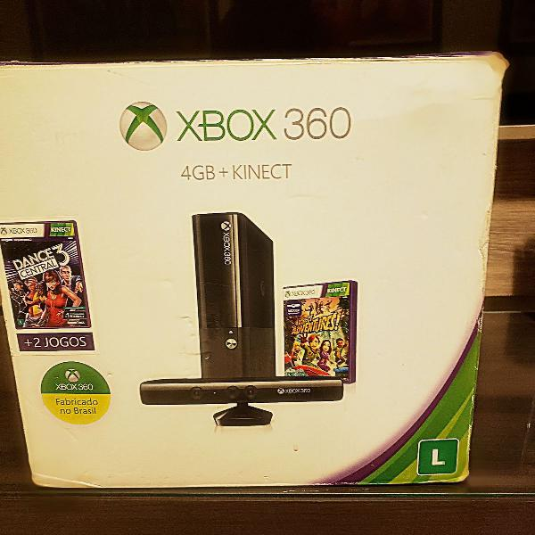 Xbox 360 4gb kinect 2 controles 10 jogos