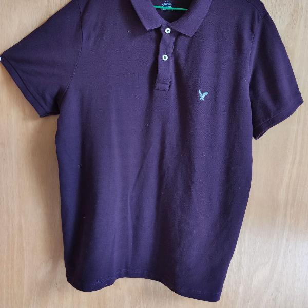 Camisa gola pólo roxa, marca: american eagle outfitters