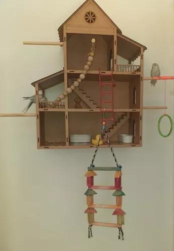 Casa casinha periquito agapornis calopsita completa f