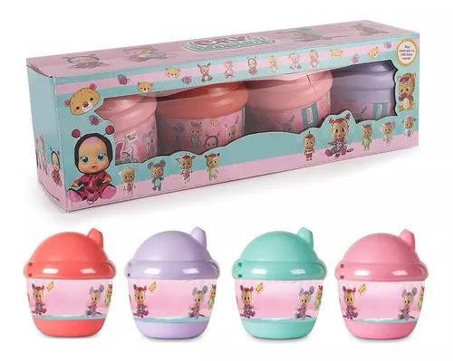 Kit 4 boneca mini cry babies chora lágrimas de verdade